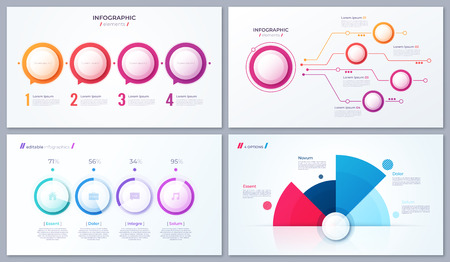 Set of vector 4 options infographic designs, templates for web, presentations, reports, visualizations  イラスト・ベクター素材