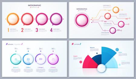 Set of vector 4 options infographic designs, templates for web, presentations, reports, visualizations Illusztráció