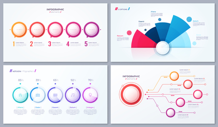 Set of vector 5 options infographic designs, templates for web, presentations, reports, visualizations