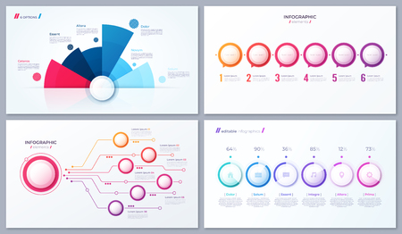 Set of vector 6 options infographic designs, templates for web, presentations, reports, visualizations