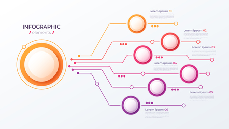 Vector 6 options infographic design, structure chart, presentation template