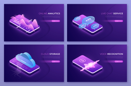Online analytics, live chat service, cloud technologies, voice recognition isometric concepts. Vector illustration.