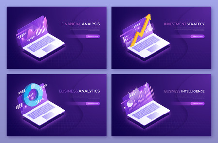 Financial analysis, investment strategy, business analytics isometric concepts. Vector illustration