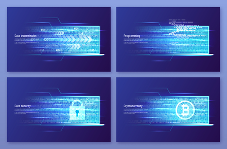 Data transmission, programming and coding, web security, digital money concepts. Vector illustration