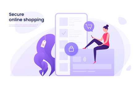 Secure online shopping 矢量图像