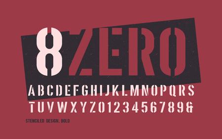 Stenciled bold weight decorative san serif. Vector illustration.