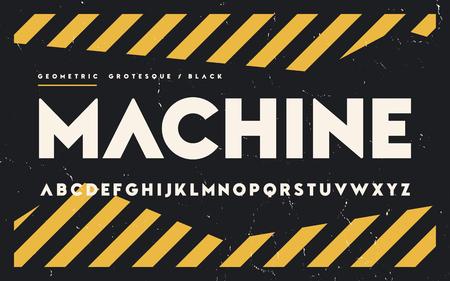 Geometric black serif, serif, uppercase letters.