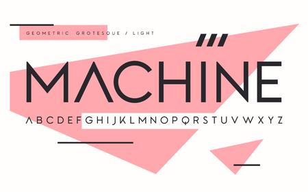 Geometric light weight san serif, alphabet, uppercase letters.