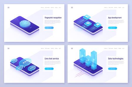 Fingerprint recognition, mobile app development, live chat service concept.