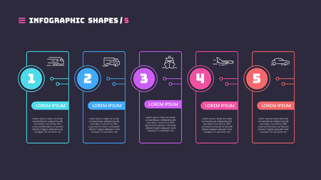 Thin line infographic concept with 5 options. Vector template for web, presentations, reports, visualizations. Editable stroke. Illusztráció