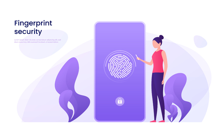 Fingerprint recognition, data protection, secure access, user identification concept. Vector illustration