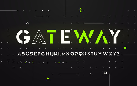 Stenciled futuristic san serif, alphabet, uppercase letters