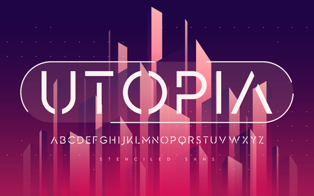 Stenciled minimal san serif, uppercase letters