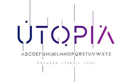 Stencil redondeado san serif, alfabeto, letras mayúsculas