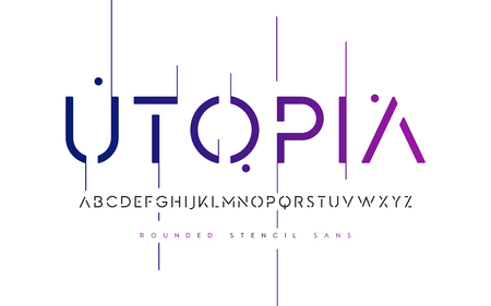 Rounded stencil san serif, alphabet, uppercase letters