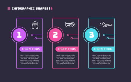 Infografik-Konzept mit dünner Linie mit 3 Optionen. Vektorvorlage für Web, Präsentationen, Berichte, Visualisierungen. Bearbeitbarer Strich.