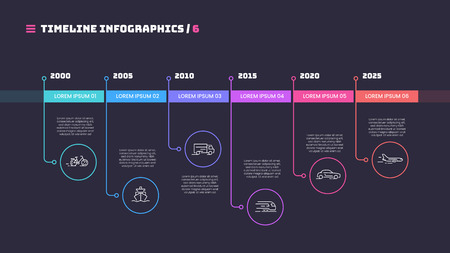 Thin line timeline minimal infographic concept with six periods of time. Vector template for web, presentations, reports, visualizations. Editable stroke. Stock Illustratie