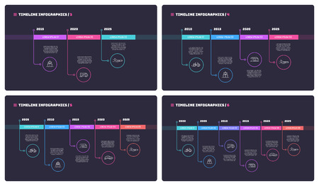 Thin line timeline minimal infographic concepts with 3 4 5 and 6 periods of time. Vector templates for web, presentations, reports, visualizations. Editable stroke. Illustration