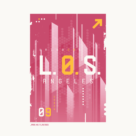 Los Angeles t-shirt abstract geometric futuristic design, print, typography, poster. Vector illustration. 일러스트