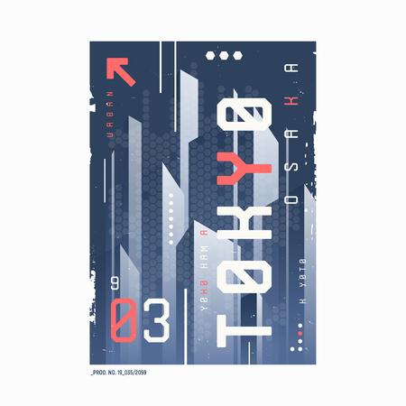 Tokyo t-shirt abstract geometric futuristic design, print, typography, poster. Vector illustration Illusztráció