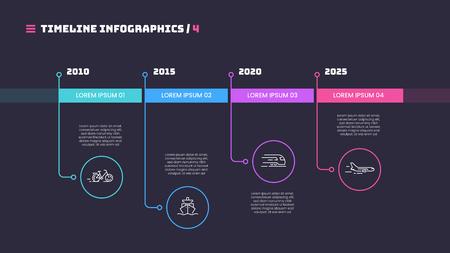 Concetto di infografica minima timeline sottile con quattro periodi di tempo. Modello vettoriale per web, presentazioni, report, visualizzazioni. Tratto modificabile. Vettoriali