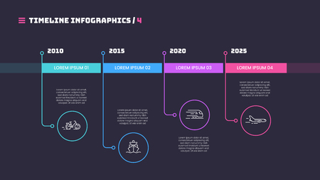 Thin line timeline minimal infographic concept with four periods of time. Vector template for web, presentations, reports, visualizations. Editable stroke.