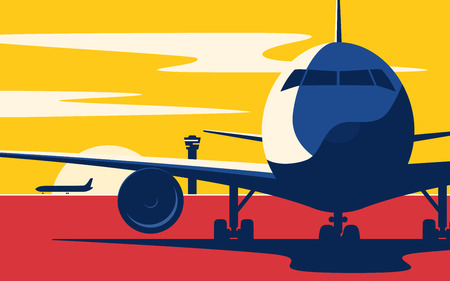 On a taxiway. Flat style vector illustration of the airliner at sunset at the airport. Illusztráció