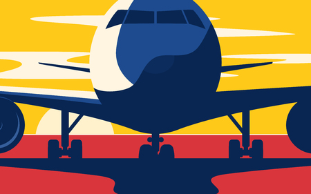 Closeup. Flat style vector illustration of the airliner at sunset at the airport. Illustration