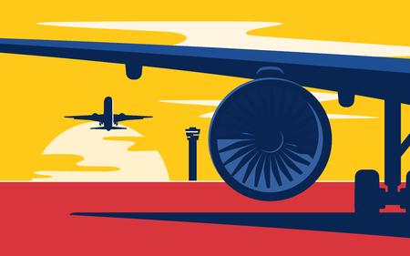 Despegar. Ilustración de vector de estilo plano de los aviones al atardecer en el aeropuerto.