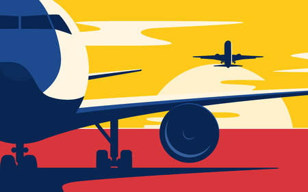 Air traffic. Flat style vector illustration of the airliners at sunset.
