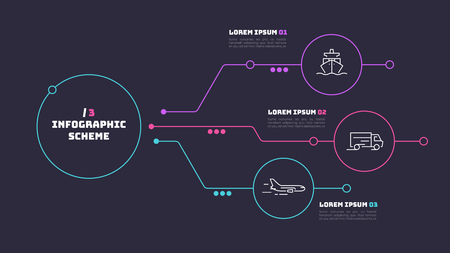 Thin line infographic scheme with 3 options. Vector template for web, presentations, reports, visualizations. Editable stroke.