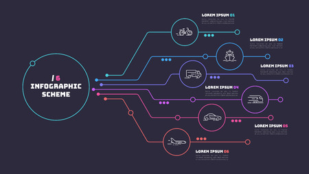 Thin line infographic scheme with 6 options. Vector template for web, presentations, reports, visualizations. Editable stroke. Illusztráció