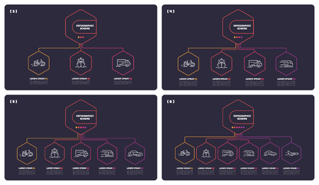 Thin line infographic schemes with 3 4 5 6 options. Vector templates for web, presentations, reports, visualizations. Editable stroke. Illusztráció