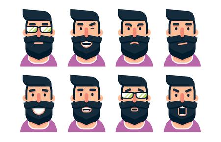 Cartoon bearded man character with various facial expressions. Vector illustration. Illusztráció