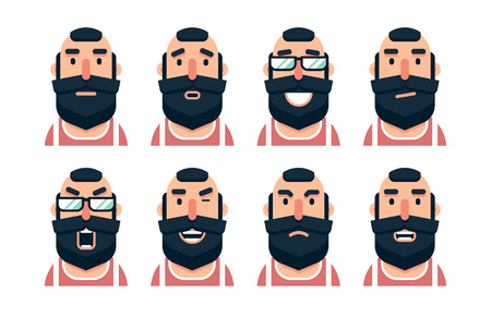 Cartoon bearded man character with various facial expressions. Vector illustration. Illustration