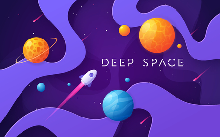 Colorful cartoon outer space background, design, banner, artwork.