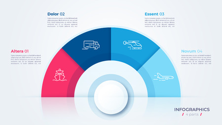Vector circle chart design, modern template for creating infographics, presentations, reports, visualizations. Global swatches Illusztráció