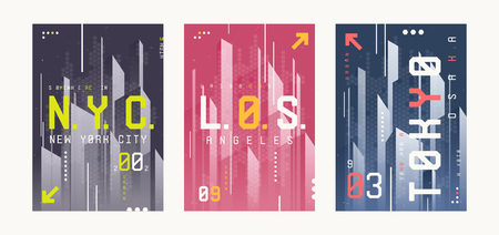 New York, Los Angeles, Tolyo t-shirt abstract geometric futuristic designs, prints, posters. Vector illustration.