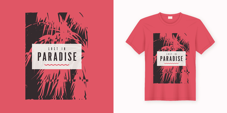 Lost in paradise. Stylish graphic tee design, poster, print with palm tree. Banco de Imagens - 118851421