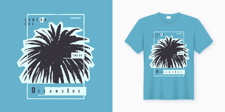 Oceanside. Stylish graphic tee design, poster, print with palm tree. Banco de Imagens - 118851422