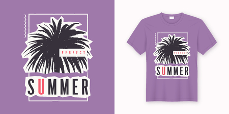 Perfect summer. Stylish graphic tee design, poster, print with palm tree. Vector illustration.