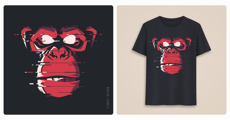 Graphic tee shirt design, print with glitch styled angry chimp.