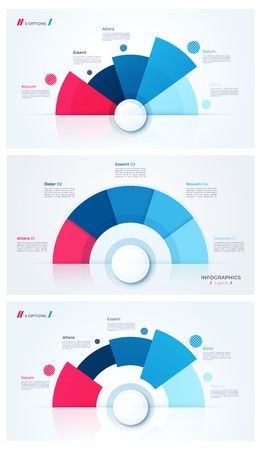 Set of stylish pie chart circle infographic templates. 5 parts. Vector illustration. Ilustração