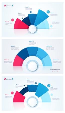 Set of stylish pie chart circle infographic templates. 5 parts. Vector illustration. Illustration