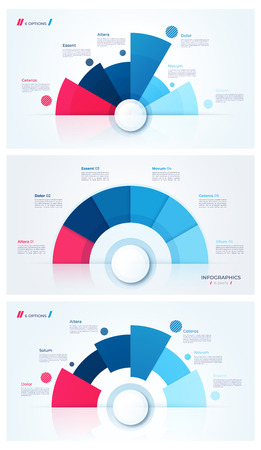 Set of stylish pie chart circle infographic templates. 6 parts. Vector illustration.