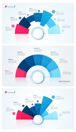 Set of stylish pie chart circle infographic templates. 7 parts. Vector illustration. Ilustração