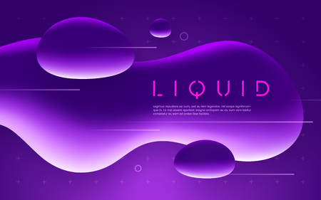 Ultraviolet futuristic design with neon liquid bubble shapes. Vector illustration. Banque d'images - 124996465