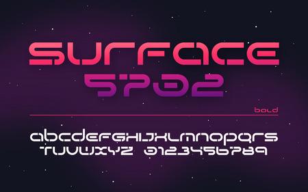 Alfabeto de tecnología futurista de ciencia ficción, letras mayúsculas y números.