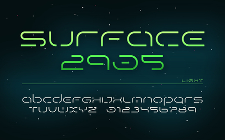 Sci-fi futuristic technology alphabet, uppercase letters and numbers.