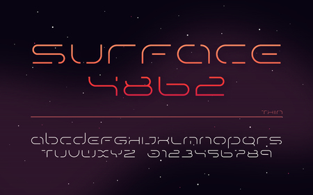 Sci-fi futuristic technology alphabet, uppercase letters and numbers. 版權商用圖片 - 118851460